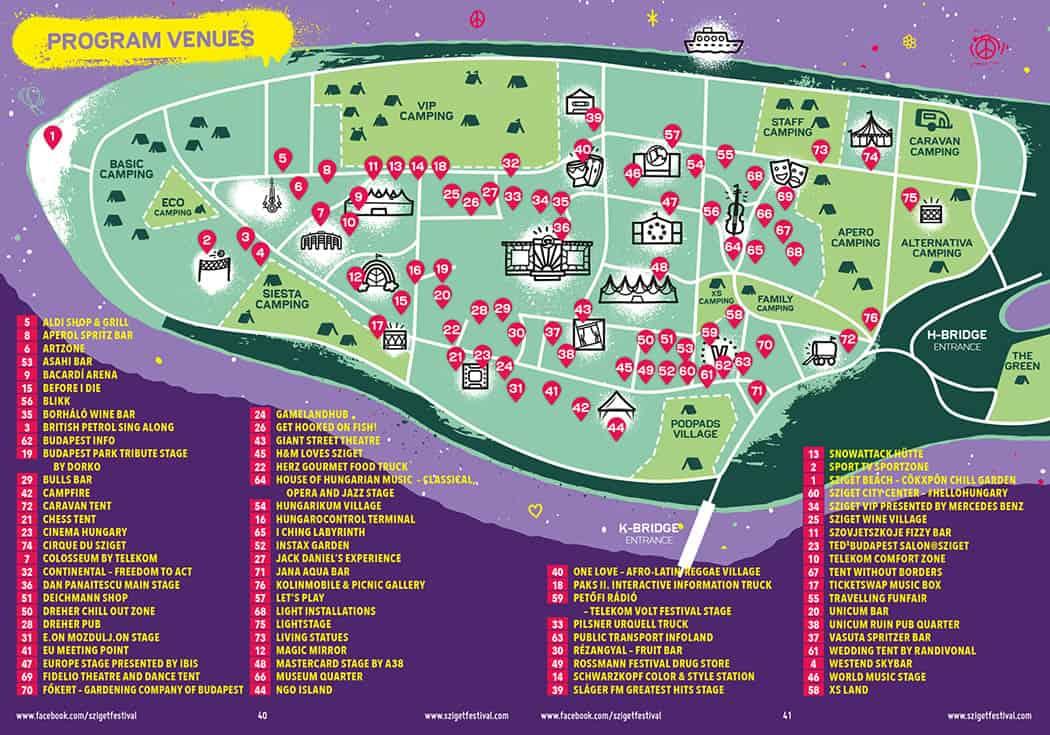 Festival Sziget - Mapa